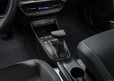 The all-new Hyundai i20 centre console with automatic gear shifter