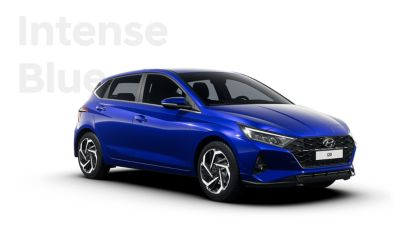 Front ride view of the all-new Hyundai i20, Intense Blue colour scheme
