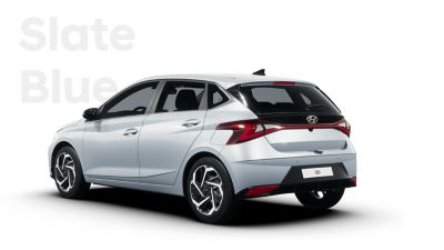 Back left view of the all-new Hyundai i20, Slate Blue colour scheme