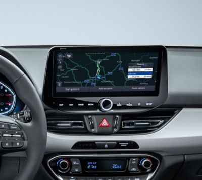Showing the dashboard n the new Hyundai i30 with its navigation system.
