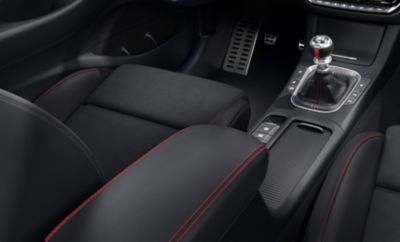 Close-up of the red accent stitching in the new Hyundai i30 N Line Wagon interior.