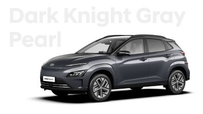 The Hyundai KONA Electric with the exterior colour Dark Knight Grey Pearl.
