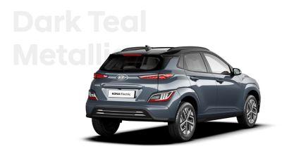 The Hyundai KONA Electric with the exterior colour Dark Teal Metallic.