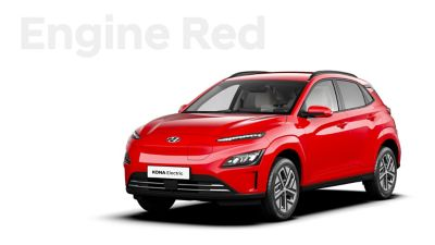 The Hyundai KONA Electric with the exterior colour Engine Red.