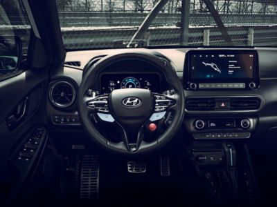 The cockpit of the Hyundai KONA N hot SUV seen from the driver's point of view