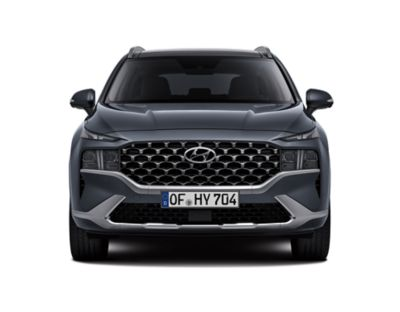 Front view of the new Hyundai SANTA FE Hybrid 7 seat SUV with its new design changes.